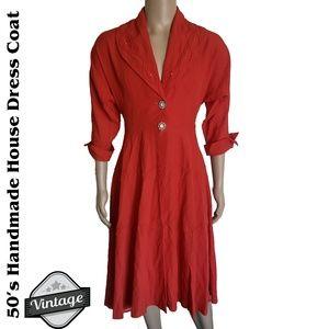 VTG 50's Handmade Red House Dress Coat